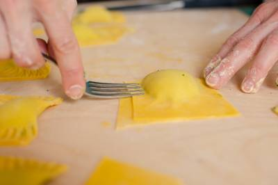 Ravioli in hand made making process