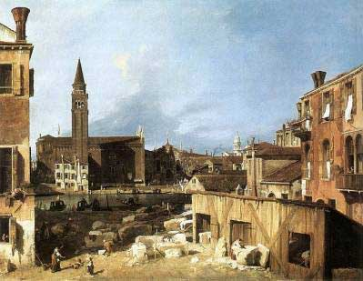 Canaletto's Italian painting The Stonemasons Yard