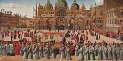 Painting by Bellini showing Piazza San Marco in Venice