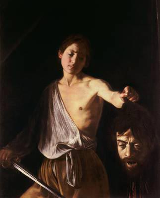 Painting by Caravaggio - man holding the head of another man in his hands.