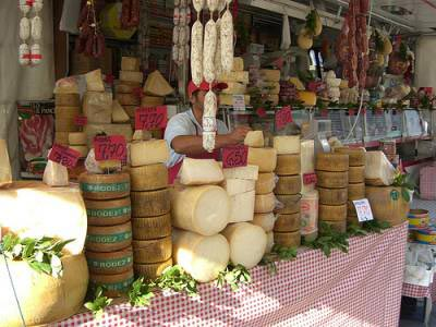 Cheese and sausages on a market in Puglia