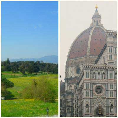 Tuscan landscape and Florence Cathedral