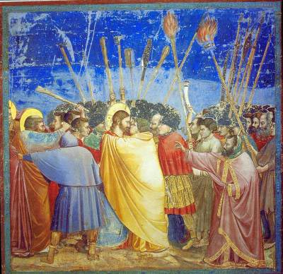 Painting Kiss of Judas by Italian painter Giotto