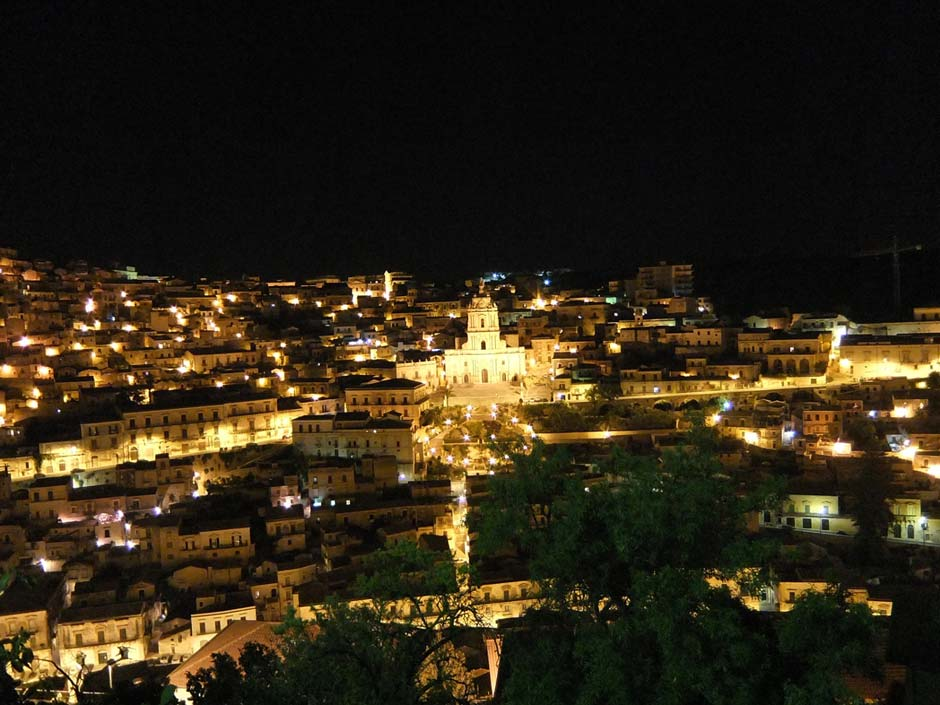 Sicily, Modica's city lights at night