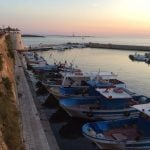 Beautiful view from the harbour in Puglia overlooking the sea