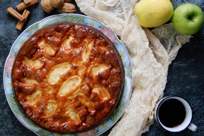 Torta di mela (Italian apple tart) with apples, espresso, walnuts and cinnamon