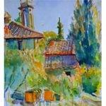 Painting tutor Hugh Tuckerman with his Italian paintings