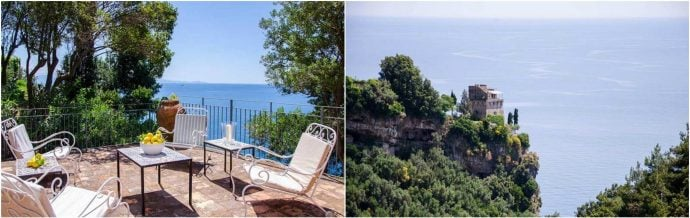 Sea views from Villa Torre on the Amalfi Coast