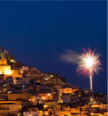 Fireworks at night in Sicily on Italian cooking holiday