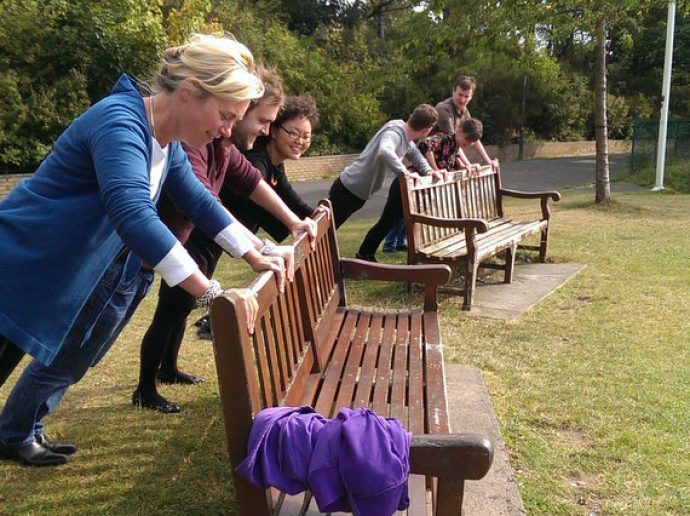 Flavours staff exercising in the park.