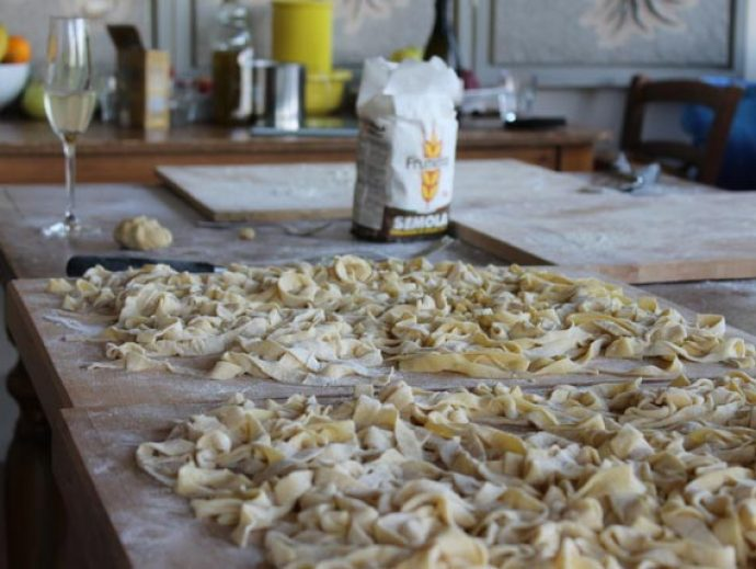 Fresh pasta made on cooking holiday in Tuscany.