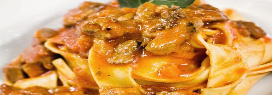 Delicious Tagliatelle served with wild boar ragu