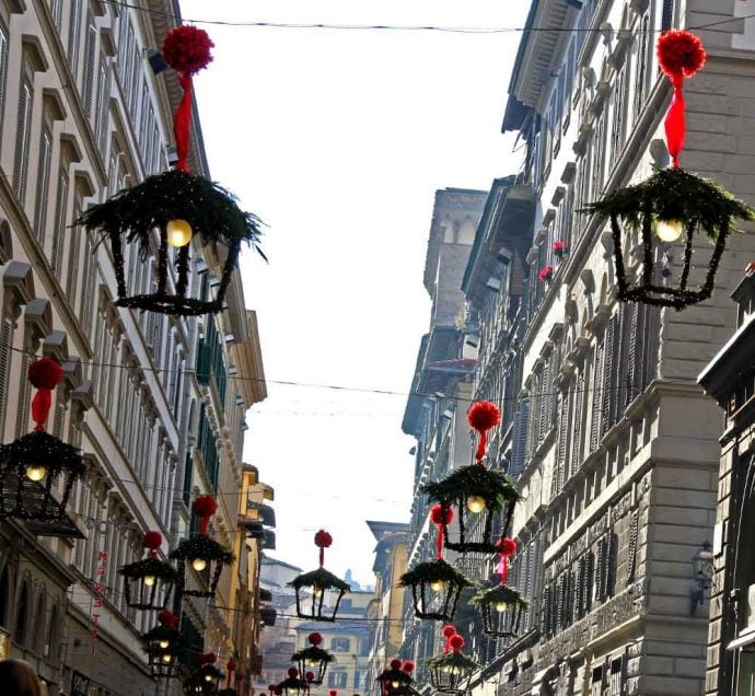 The streets of Siena decorated for Christmas