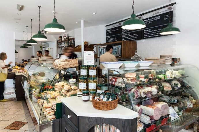 Italian Deli La Bottega shop from the insight