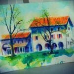 A guests water painting of the Venice villa while on the painting holiday