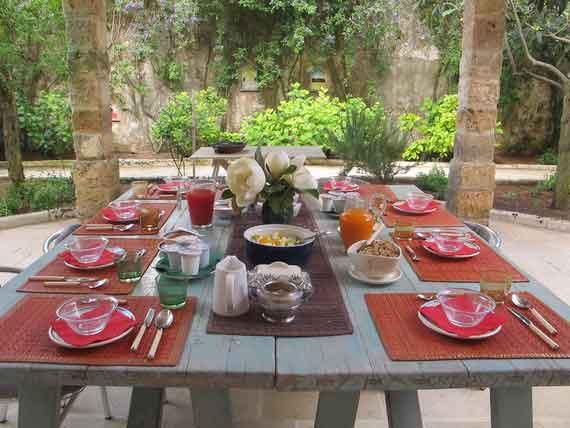 Set breakfast table at our Puglian villa.