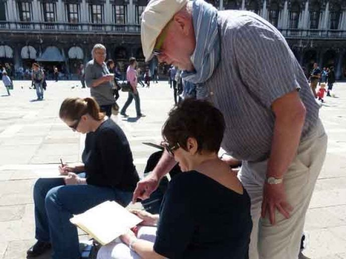 Tutor Hugh helping a student in St. Mark's square in Venice