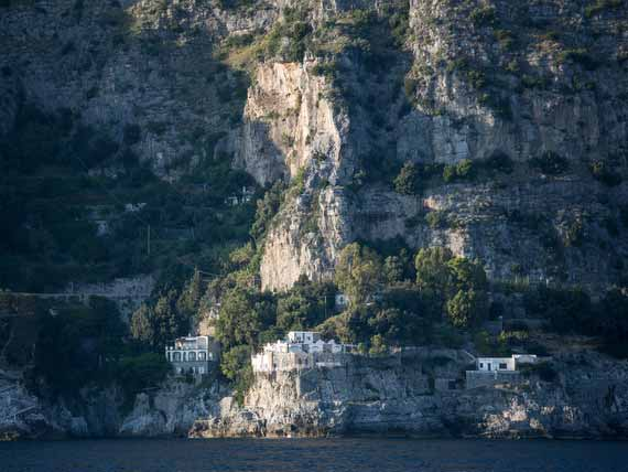 View of our cliff side villa from sea in Amalfi Coast