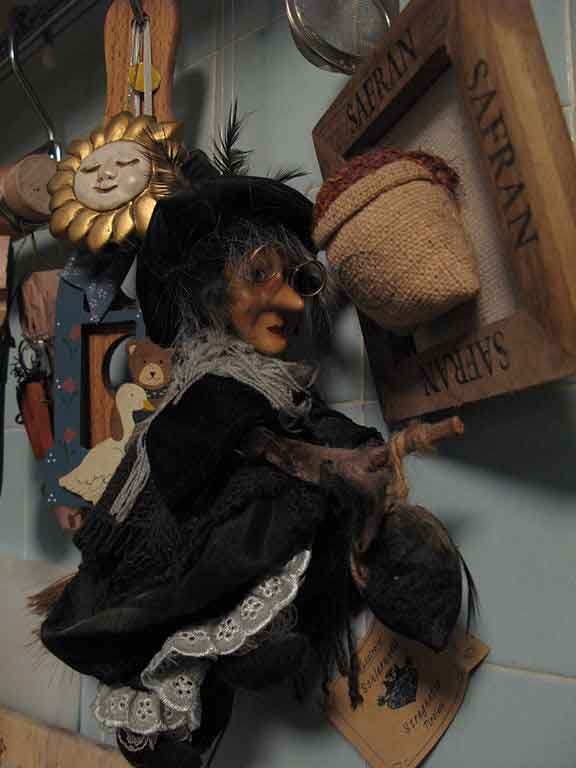 Befana the Italian friendly witch sitting on a broom