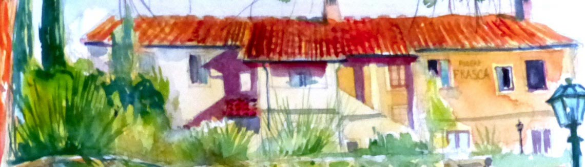 Watercolour Painting of Varramista Villa in Tuscany
