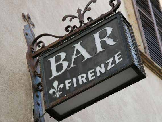 Bar Firenze sign of local trattoria in Florence.