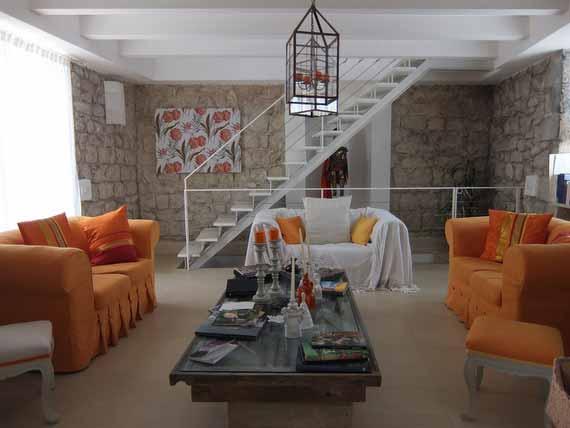 Three comfortable sofas in private villa.
