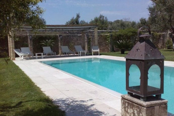 Outside swimming pool at our Puglia villa.