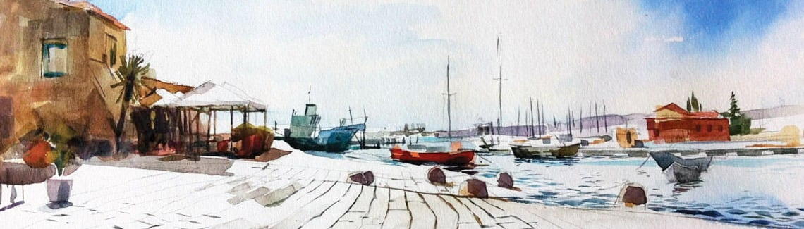 Watercolour painting of harbour, boats and sea in marzamemi, sicily.