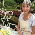 Watercolour painting guest in stunning gardens painting the outsides