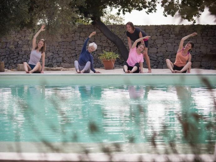 Pilates in Sicily by pool