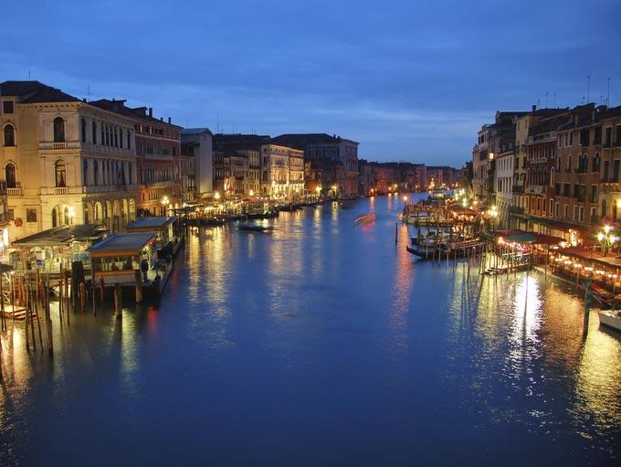 Venice water ways at night