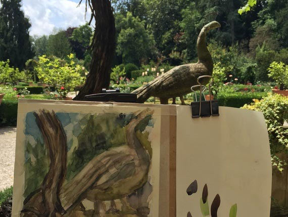 Watercolour painting in our beautiful garden in Venice.