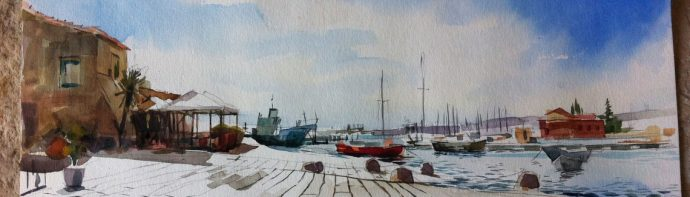 Watercolour painting of harbour, boats and sea in Marzamemi in Sicily