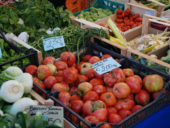Fresh fruit and vegetable on food market in Tuscany.