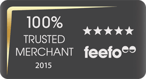 Feefo logo with 5 stars reviews and 100 per cent satisfaction