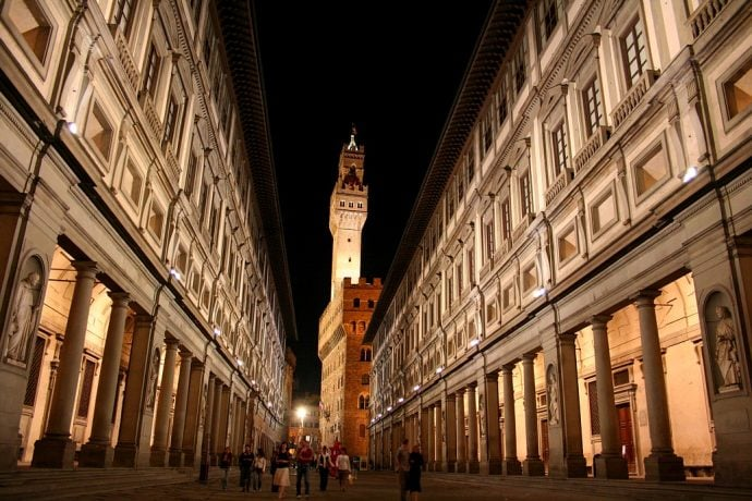 Uffizini Gallery in Florence by night