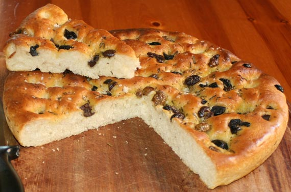Focaccia bread with herbs and olives