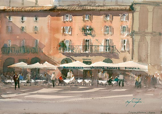 watercolour painting piazza navona in rome