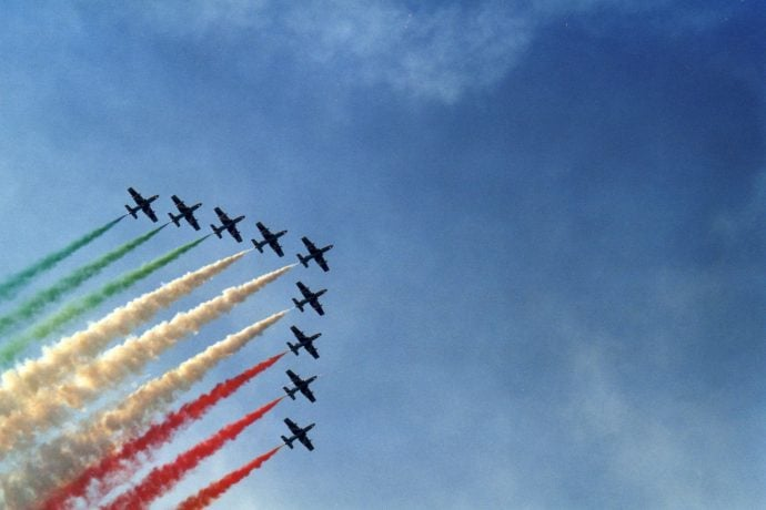 Planes in Italy showing Italian flag
