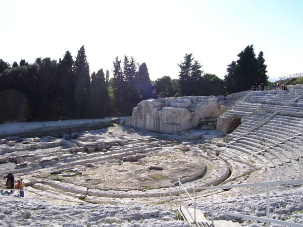 Panorama shot of Parc archéologique de Néapolis (Archaeological Park of Neapolis) Greek ampitheatre in Syracusa (Siracusa), Sicily