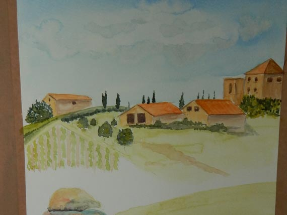 Watercolour painting of Italian houses, hills and cypress trees