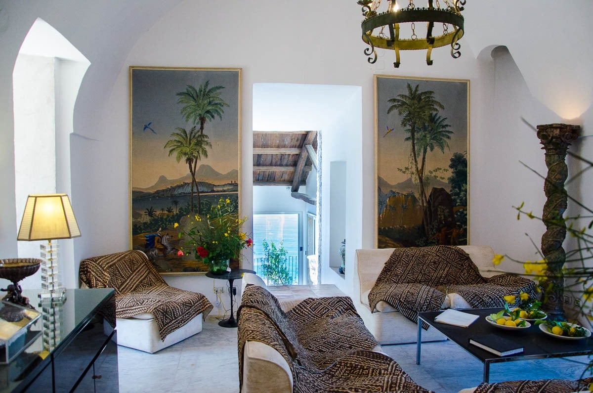 Living room at Saracen tower in Amalfi