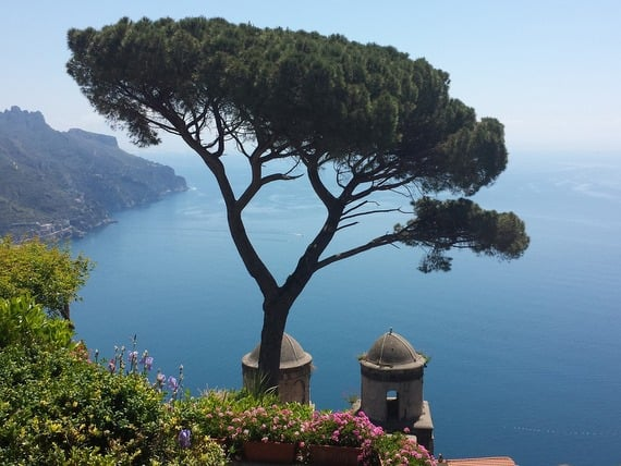 Gardens and stunning view of sea from Ravello, Amalfi