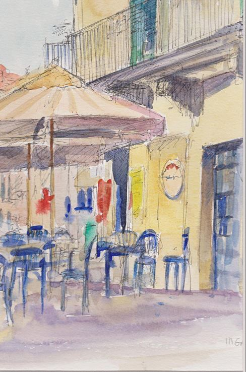 Watercolour Painting of Sicilian Cafe in Modica by Michael Gahagan