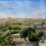 Robert Nelmes Villa Landscape - Watercolour with pen and ink