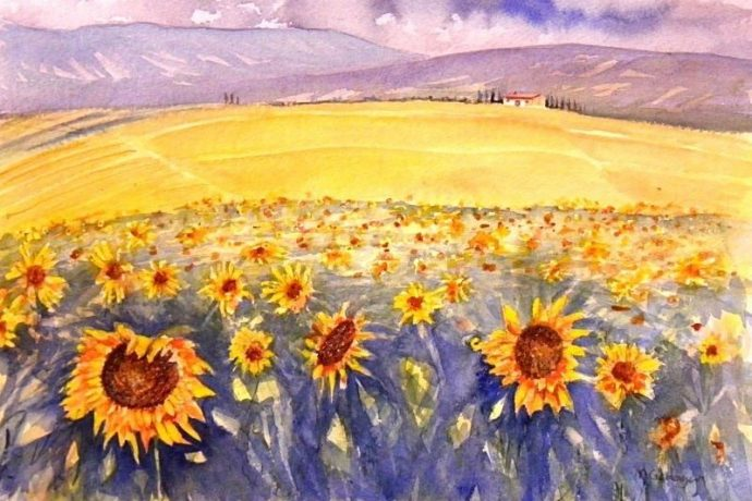 tuscan flower fields painting by michael gahagan