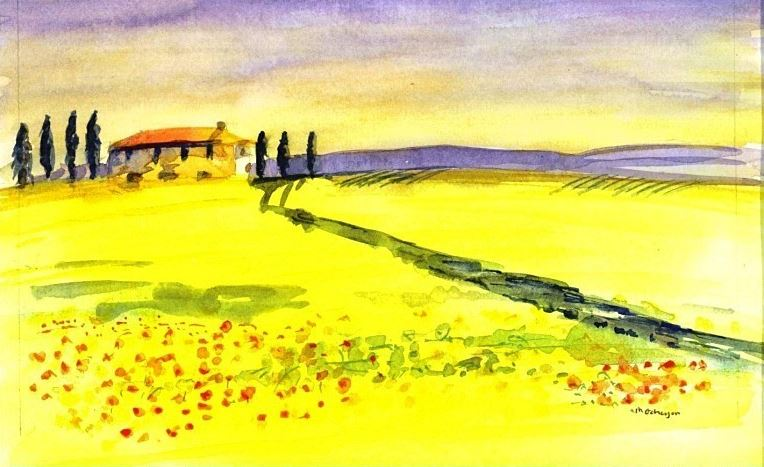 Watercolour painting of the Tuscan landscape by Michael Gahagan