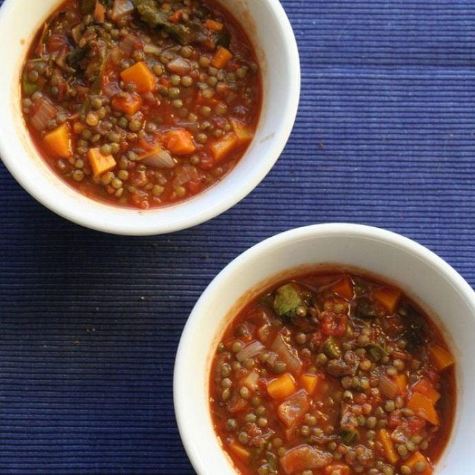 Chunky Italian lentil soup
