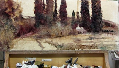 work in progress - Italian scene by Sue Smith