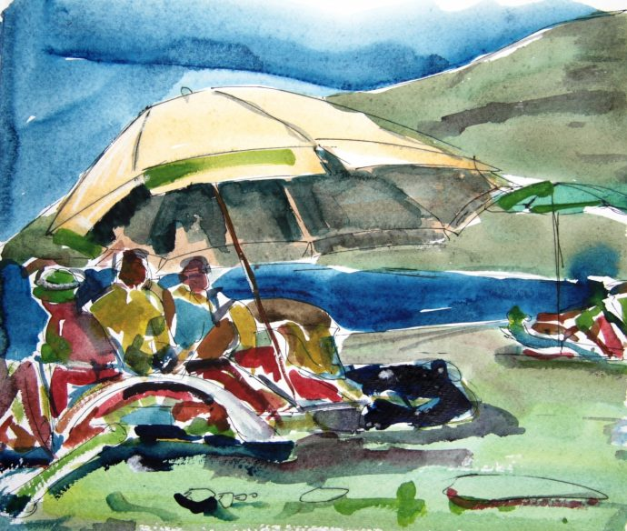 beautiful beach in tuscany painted by alan